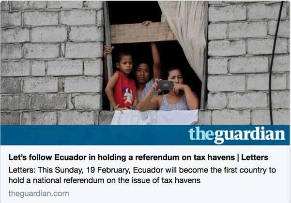 Ecuador será primer país que plantee una consulta sobre paraísos fiscales