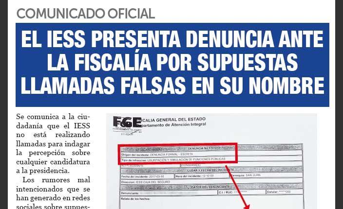 El IESS denunció en la Fiscalía llamadas falsas en su nombre con fin electoral