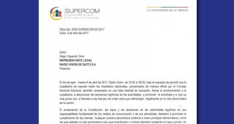 Supercom llama la atención a Radio Visión por incentivar al caos