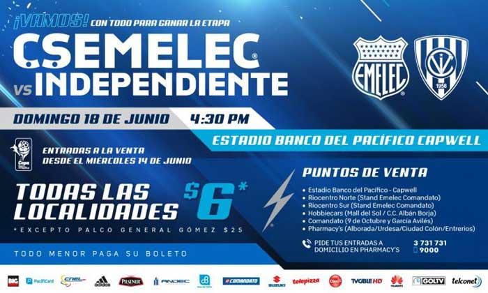 Costo entradas para el duelo entre Emelec vs Independiente del Valle