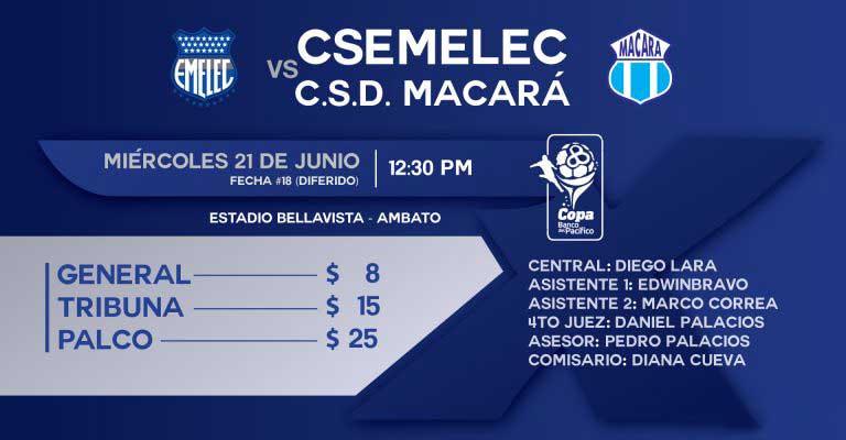 Costo de entradas para el partido de Macará vs Emelec
