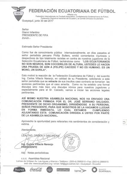 FEF iniciara acciones legales contra periodista peruano por racismo