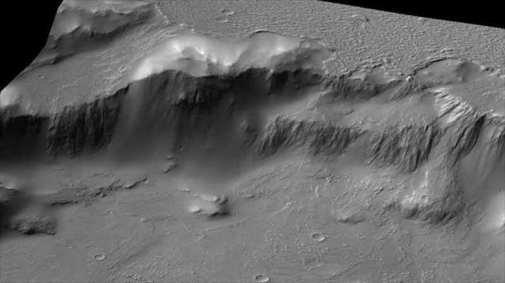 La NASA muestra unas 'cataratas del Niágara' en Marte