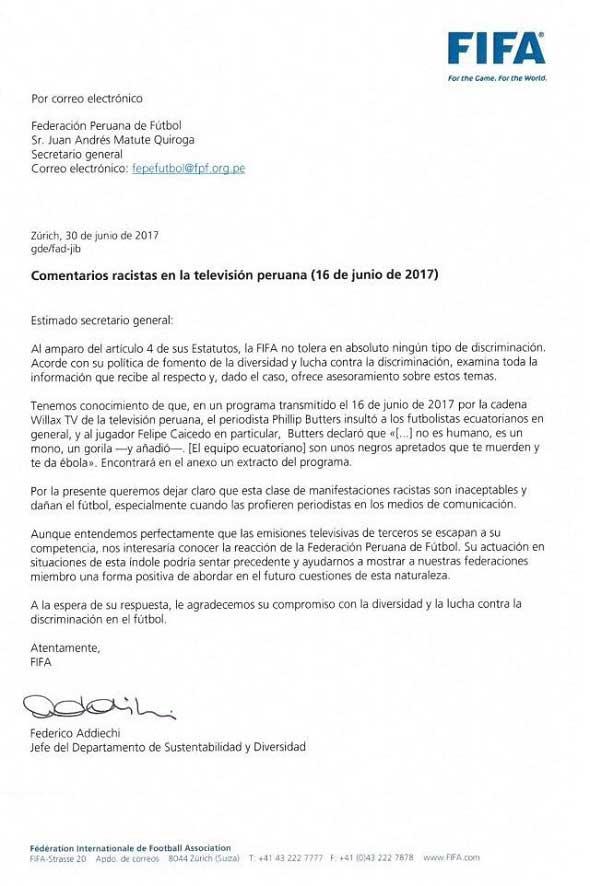 FIFA pide a federación información sobre caso butters