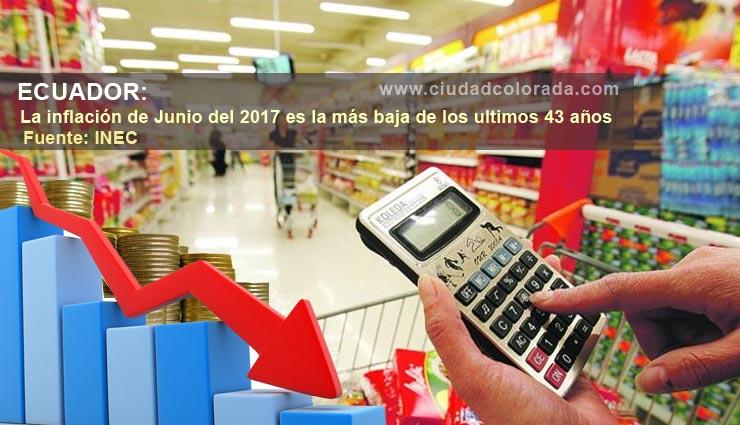 Inflación de junio de 2017, es la más baja de los últimos 40 años