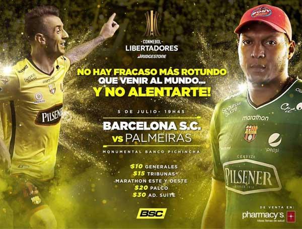 Valor de las entradas para Barcelona SC vs Palmeiras