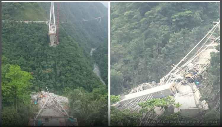 desplome de puente en vía Bogotá - Villavicencio