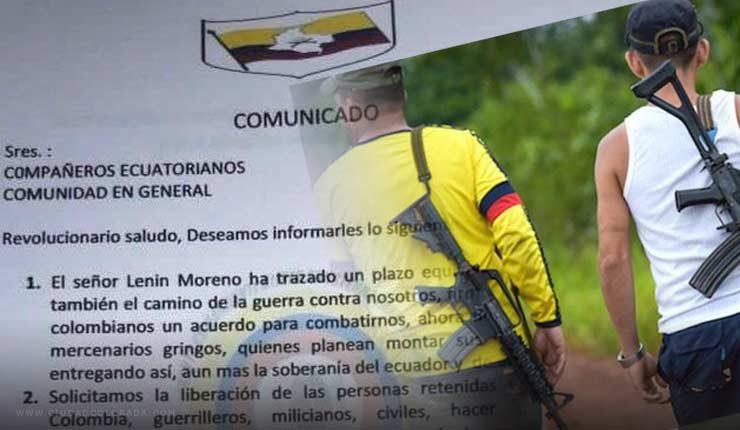 En un comunicado, alias Guacho condicionó la entrega de la pareja de secuestrados al cese del fuego por parte del gobierno ecuatoriano.