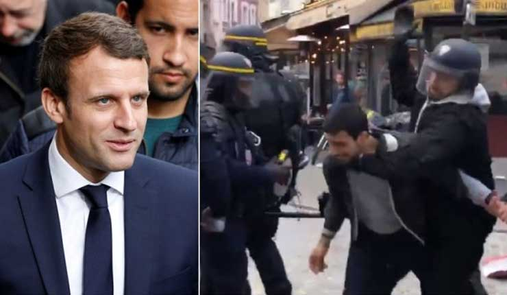 Guardaespaldas de Macron golpea a estudiante en París