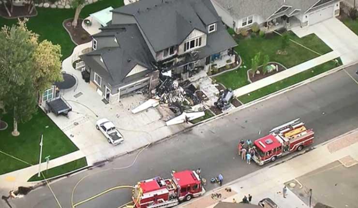 Hombre en Utah estrella un avión contra su propia casa