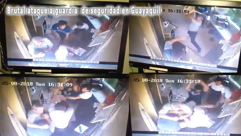 Brutal agresión a guardia de Urbanización en Guayaquil