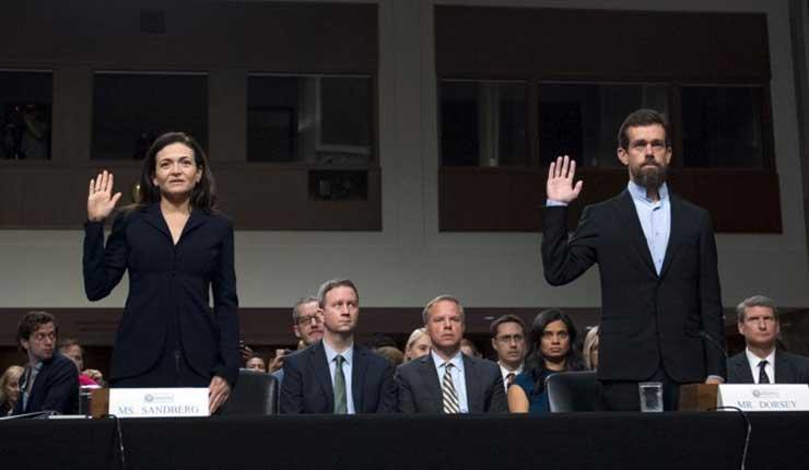 Directivos de Facebook y Twitter hablan en el Senado de EEUU