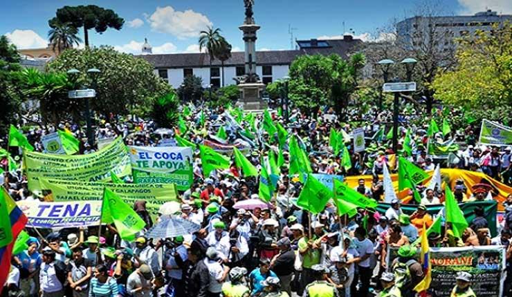 El Movimiento Revolución Ciudadana marcha en rechazo a las políticas de gobierno de Moreno