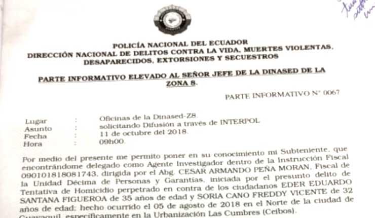 Policía de Ecuador solicita a Interpol difusión roja para los Roditti