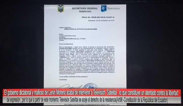 Clausuran canal de televisión en Ecuador