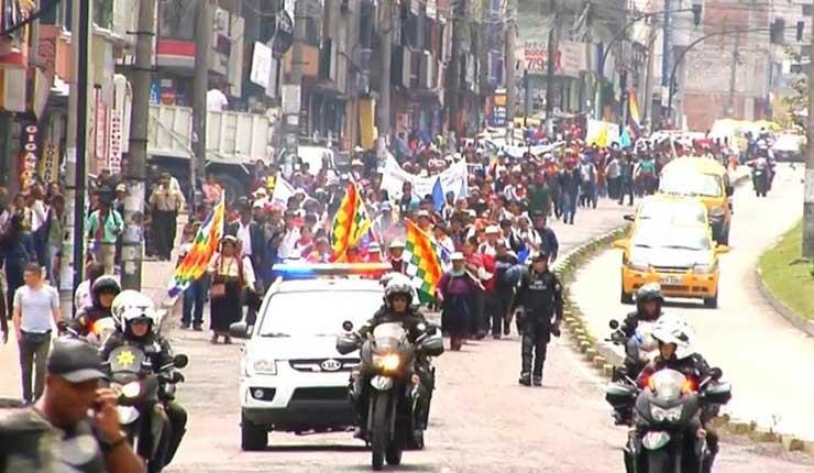 Protesta indígena en Ecuador en contra de la minería