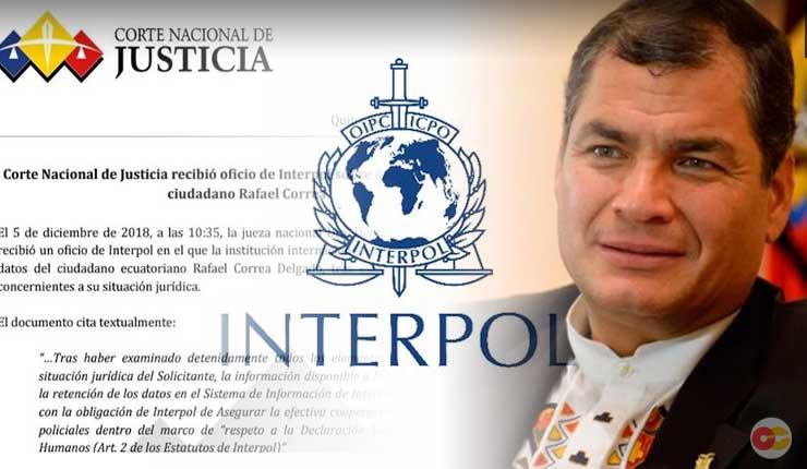 Revés internacional para el Lawfare - Interpol rechaza difusión roja en contra de Correa
