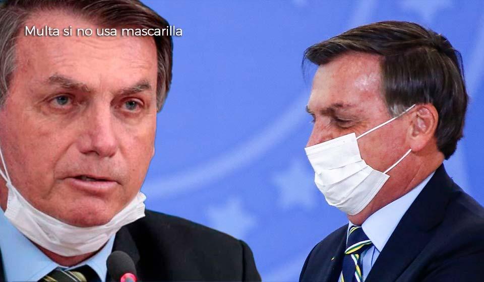 Presidente de #Brasil será multado si no usa #mascarilla en público.