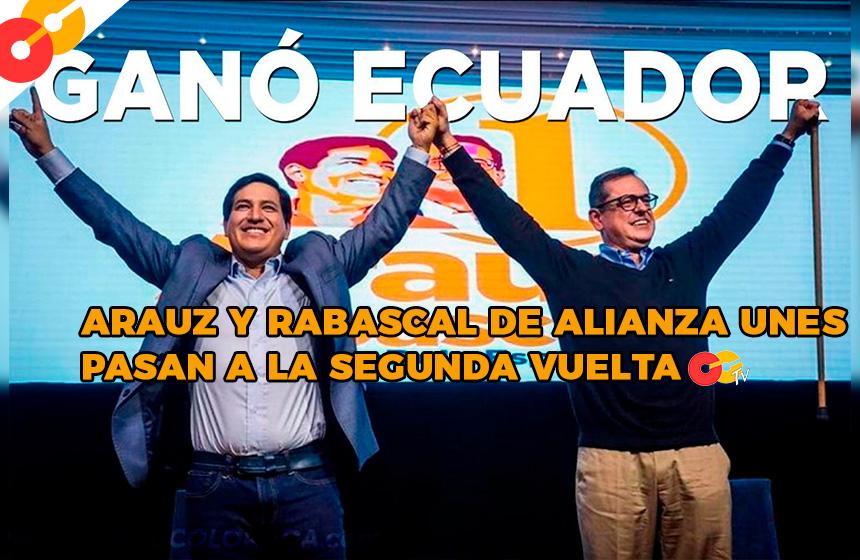 Arauz y Rabascall pasa a la segunda vuelta en Ecuador